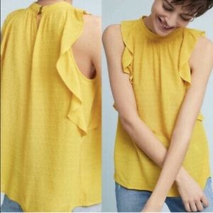 Maeve Anthropology Ruffled Yellow Tank Top